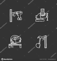 construction tools chalk icons set carpentry portable screwdriver bench vice electric jigsaw hand hammering nail isolated vector chalkboard  [ 1600 x 1700 Pixel ]