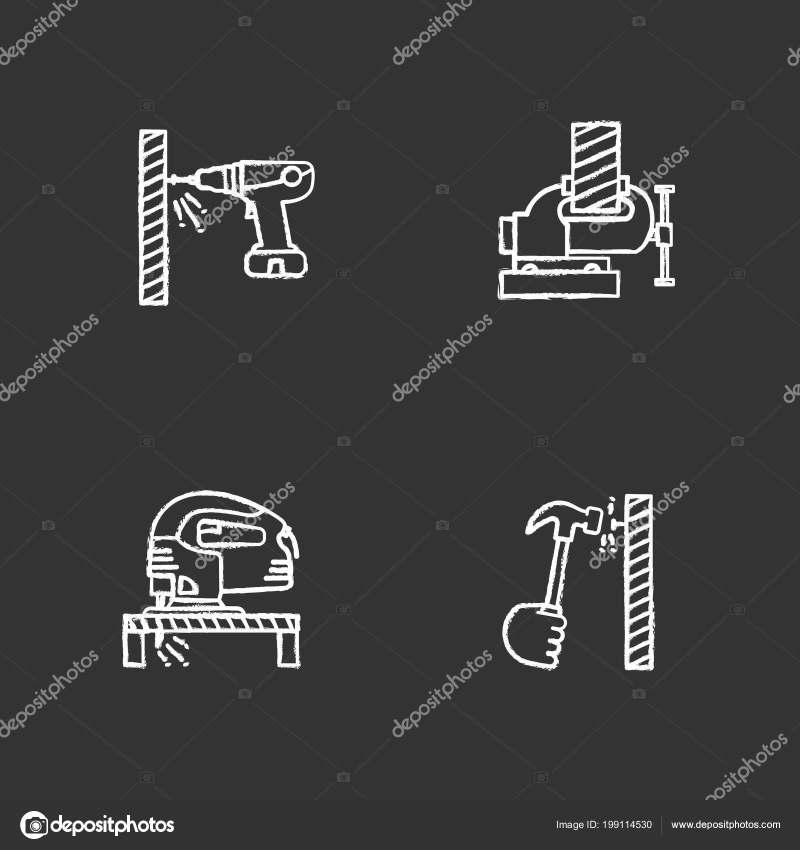 hight resolution of construction tools chalk icons set carpentry portable screwdriver bench vice electric jigsaw hand hammering nail isolated vector chalkboard