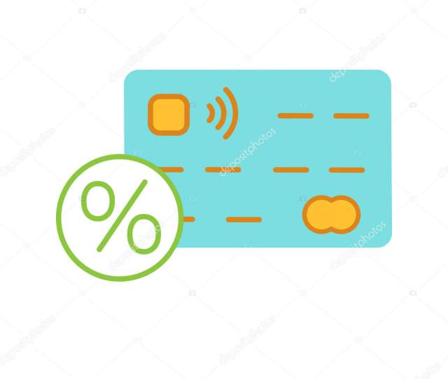 Credit Card Interest Rate Color Icon Credit Card Percent Isolated Stock Vector