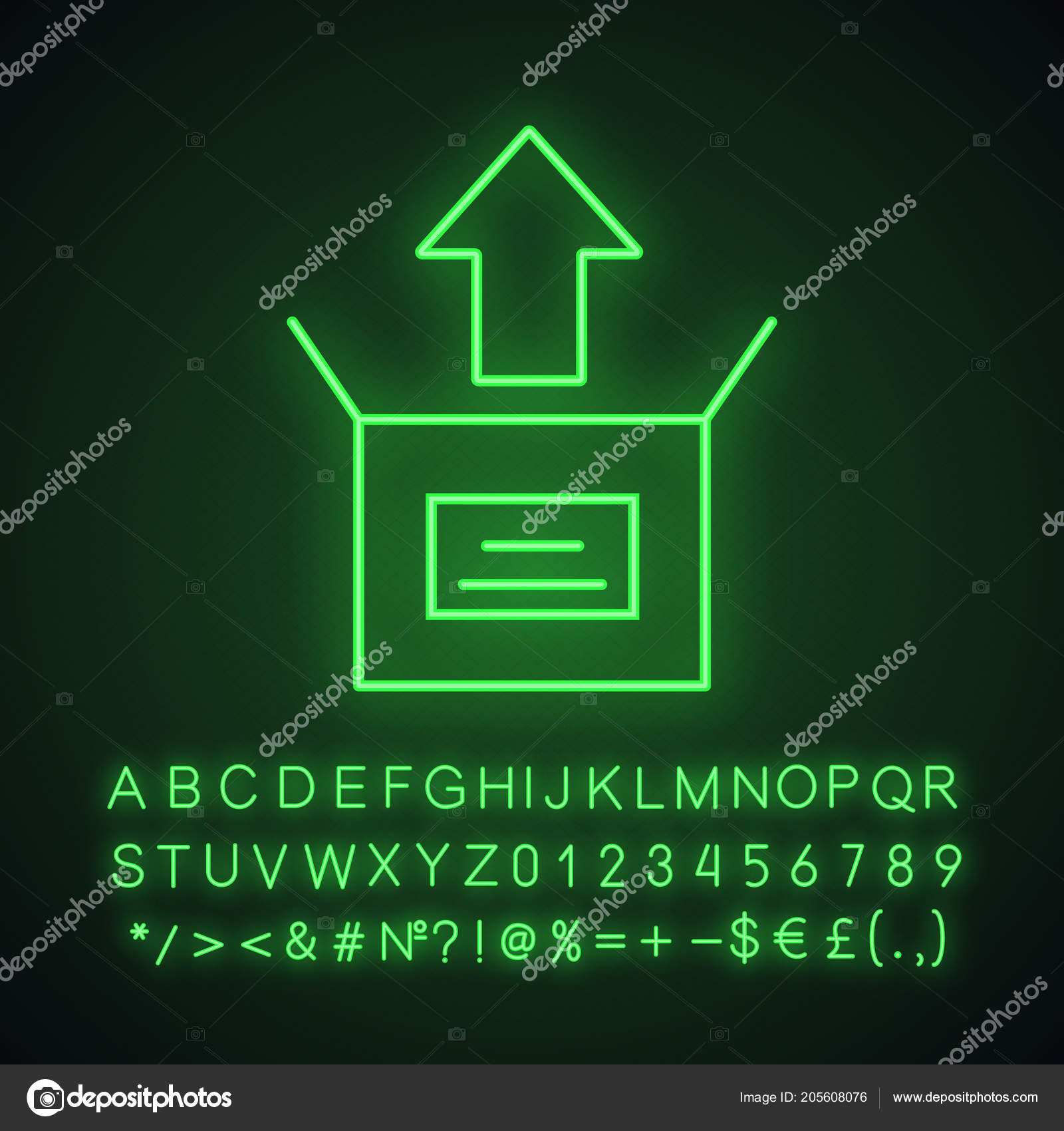 hight resolution of unboxing neon light icon box unpacking glowing sign alphabet numbers stock vector
