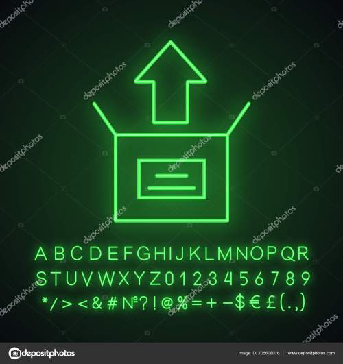 small resolution of unboxing neon light icon box unpacking glowing sign alphabet numbers stock vector