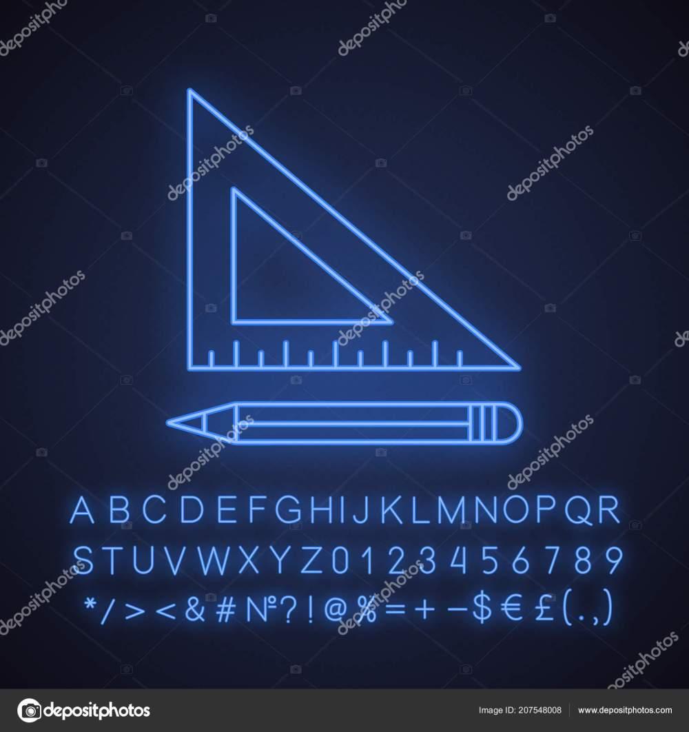 medium resolution of triangular ruler pencil neon light icon drafting glowing sign alphabet stock vector