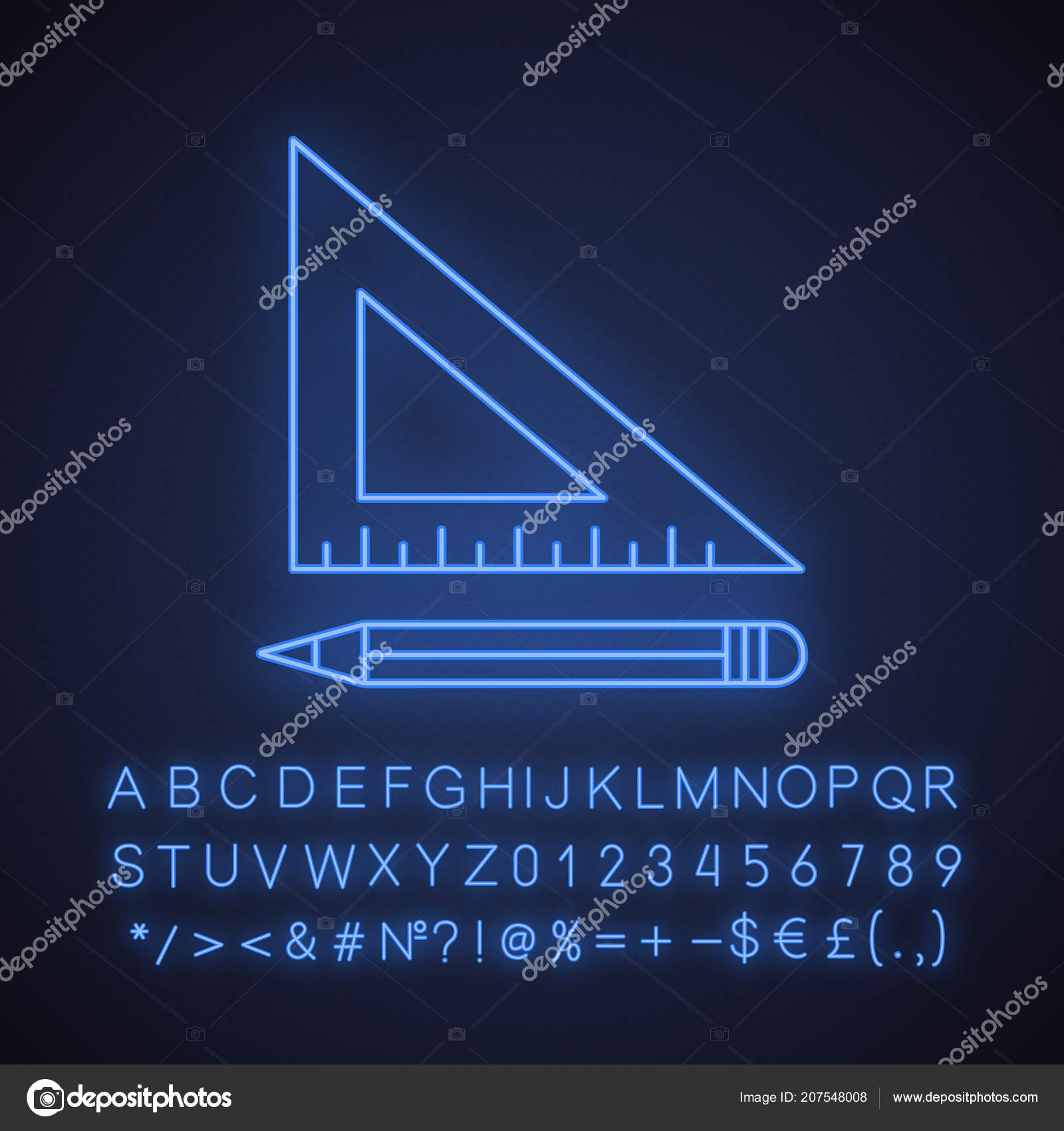 hight resolution of triangular ruler pencil neon light icon drafting glowing sign alphabet stock vector