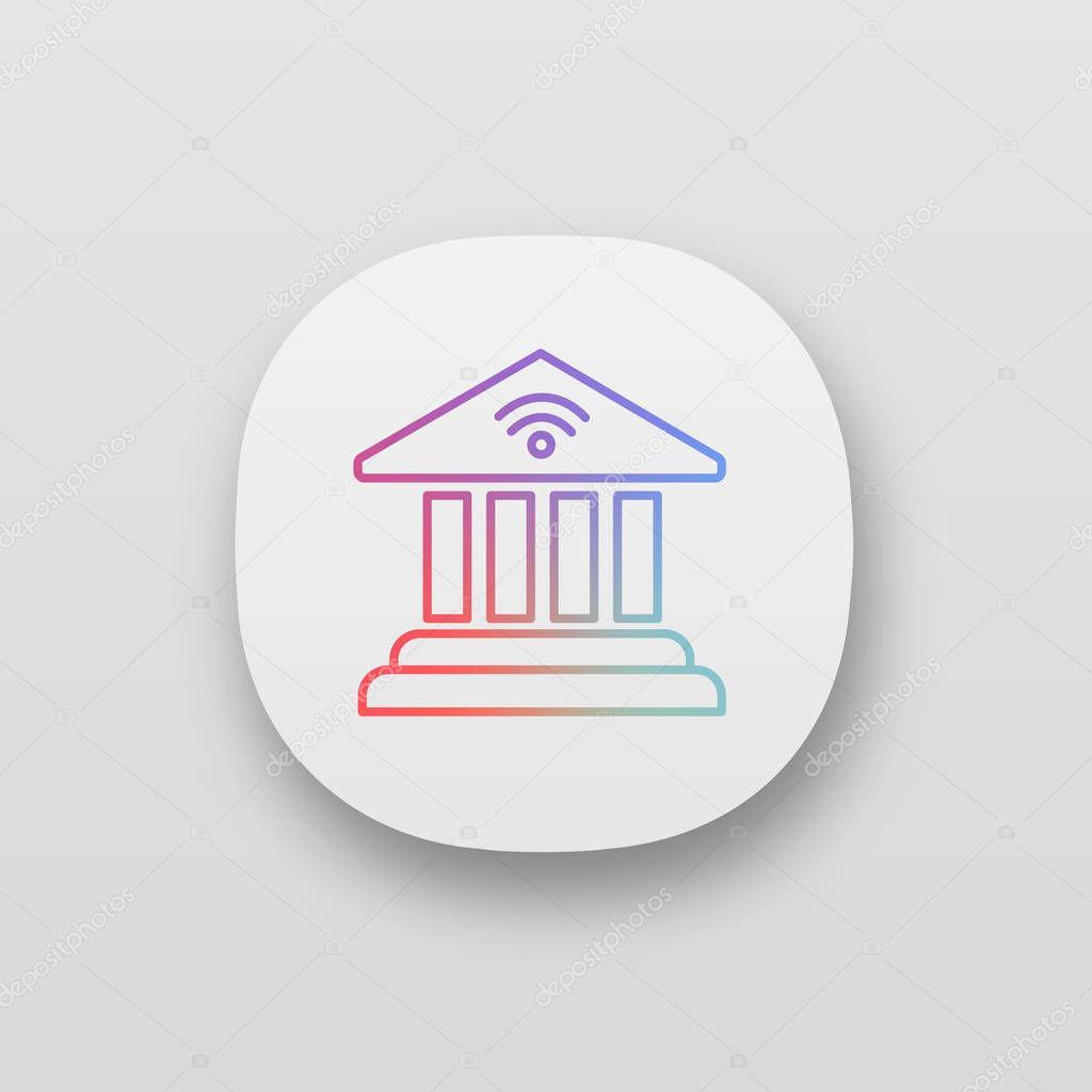 Online Banking App Icon Bank Building Premium Vector In Adobe Illustrator Ai Ai Format Encapsulated Postscript Eps Eps Format