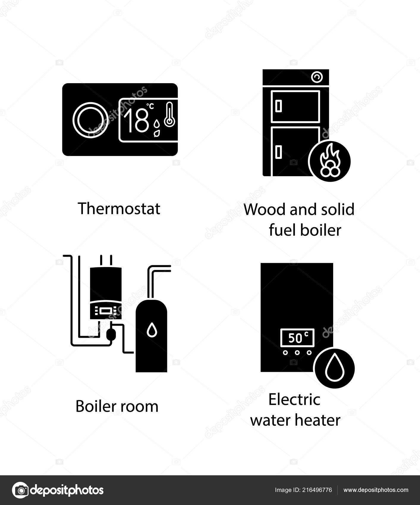 Heating Glyph Icons Set Digital Thermostat Solid Fuel