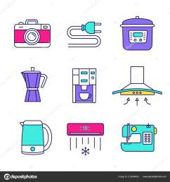 household appliance color icons set photo camera wire plug multi stock vector [ 1600 x 1700 Pixel ]