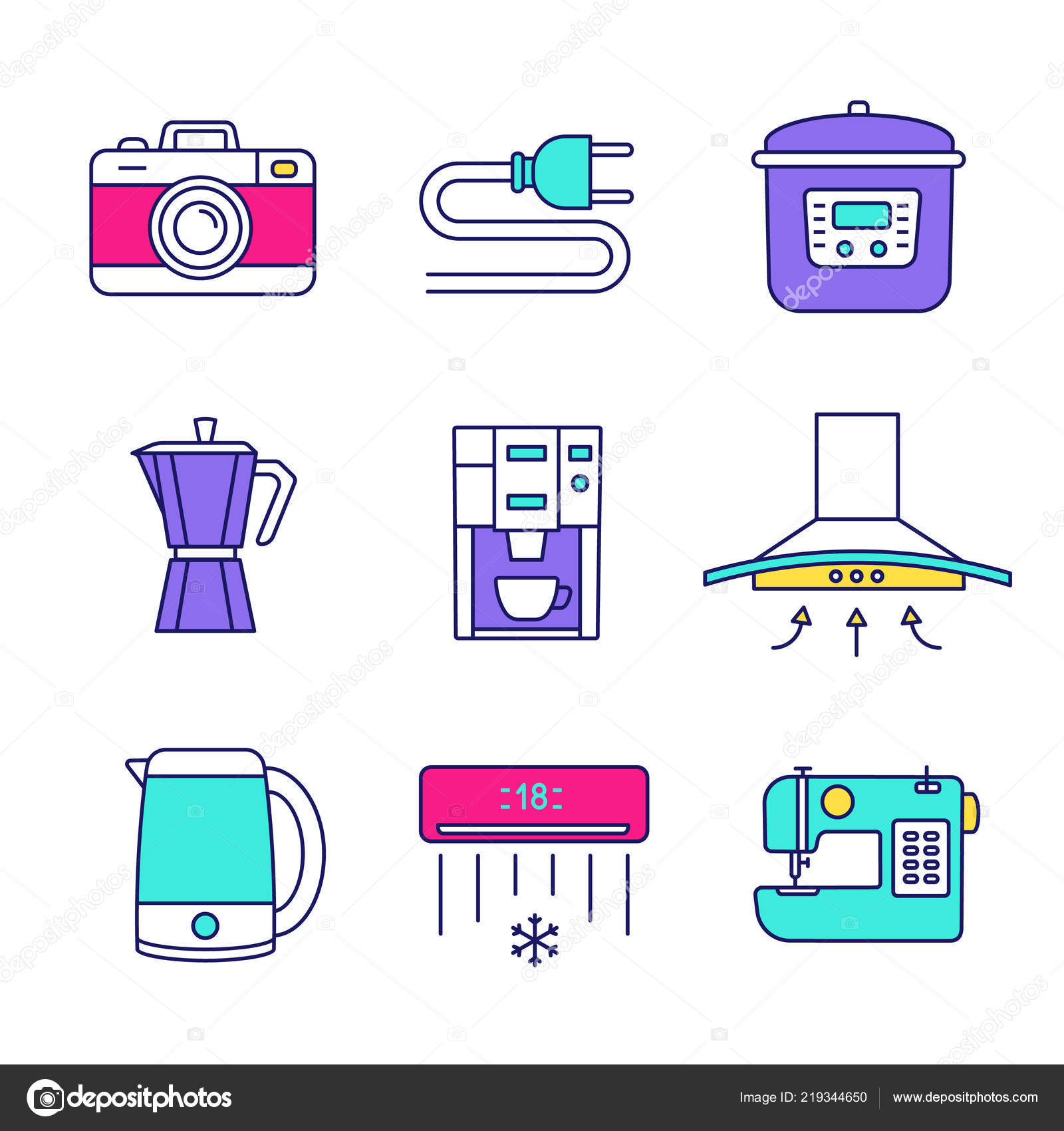 hight resolution of household appliance color icons set photo camera wire plug multi stock vector