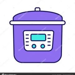 Kitchen Tool Crock Cherry Wood Table 多炊具颜色图标慢炖锅压力多功能炊具厨房用具孤立向量例证 图库矢量图像