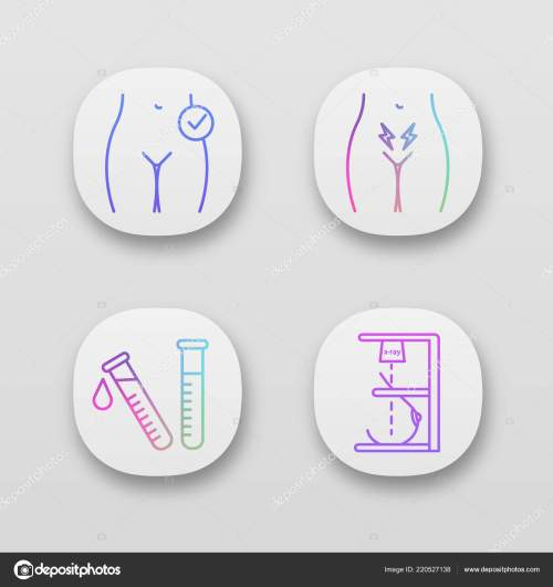 small resolution of gynecology app icons set womens health menstrual cramps laboratory test stock vector