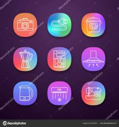 household appliance app icons set photo camera wire plug multi stock vector [ 1600 x 1700 Pixel ]