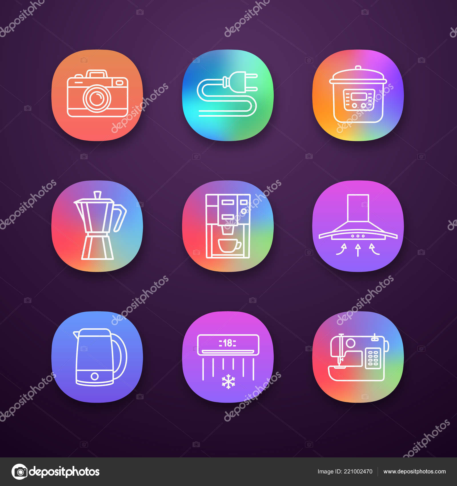 hight resolution of household appliance app icons set photo camera wire plug multi stock vector