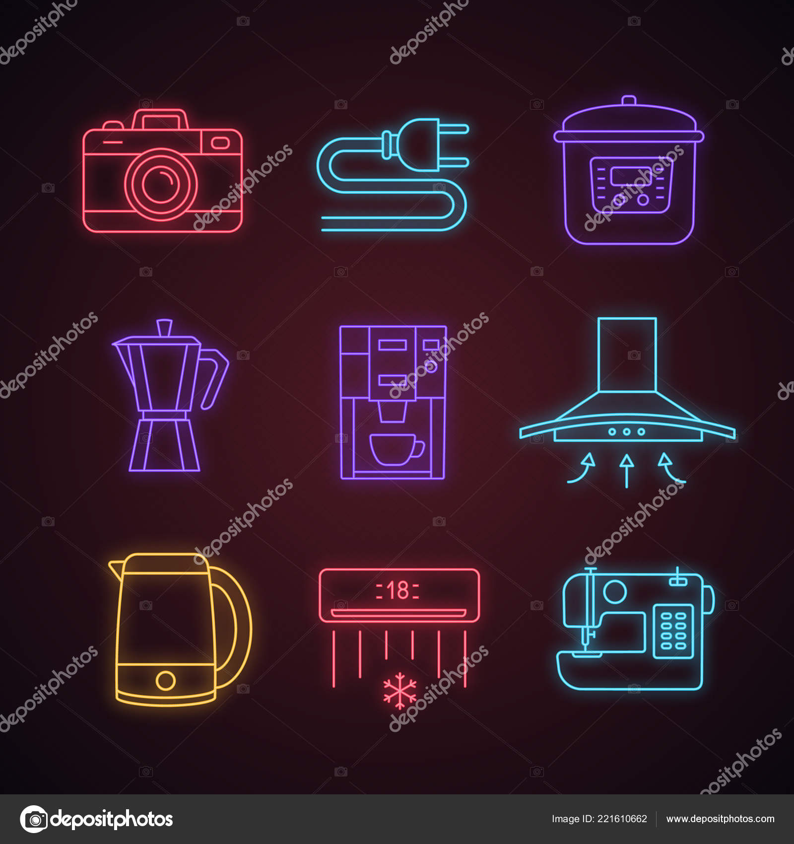 hight resolution of household appliance neon light icons set photo camera wire plug stock vector
