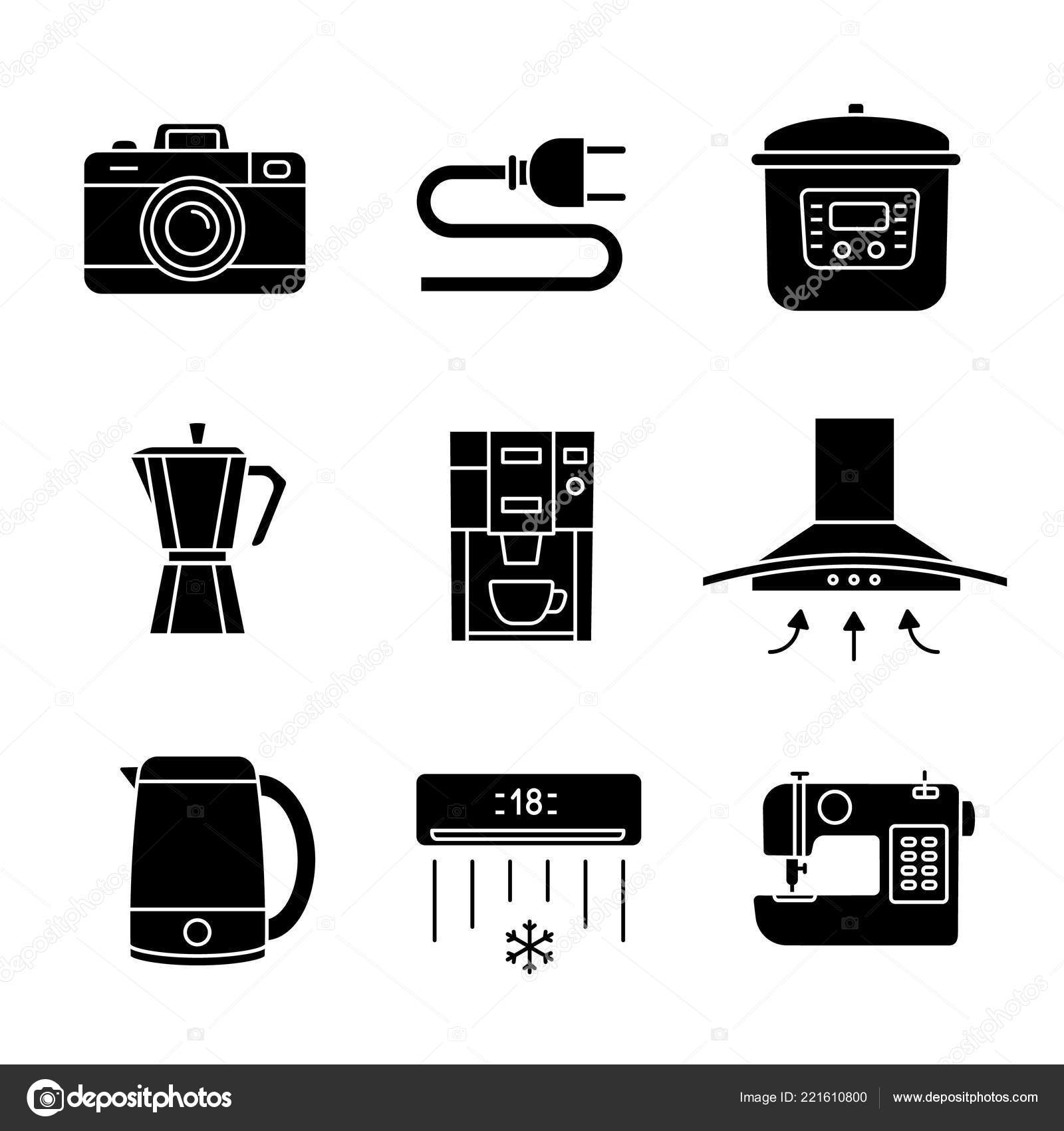 hight resolution of household appliance glyph icons photo camera wire plug multi cooker stock vector