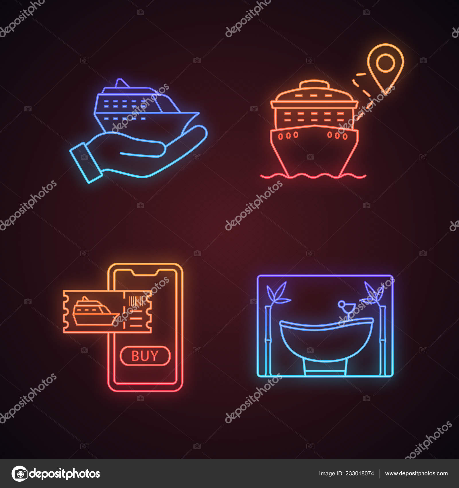 hight resolution of cruise neon light icons set travel agency summer voyage cruise stock vector