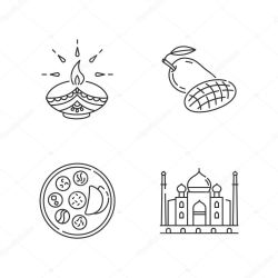 ✅ Indian culture pixel perfect linear icons set Diya lamp Diwali festival Mango fruit Thali Taj Mahal Customizable thin line contour symbols Isolated vector outline illustrations Editable stroke premium vector in Adobe