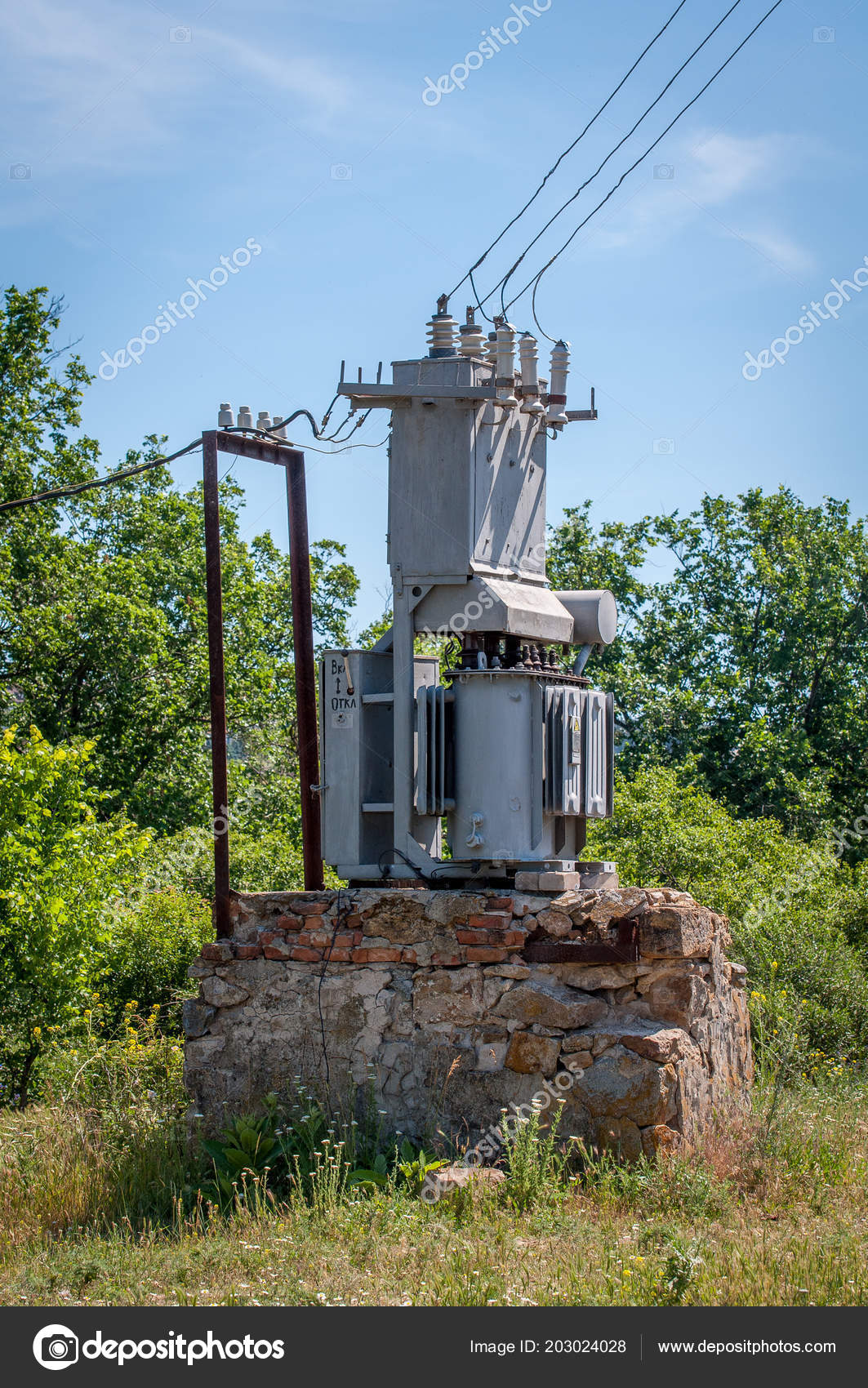 hight resolution of electrical transformer stone stand old high voltage power station stock photo