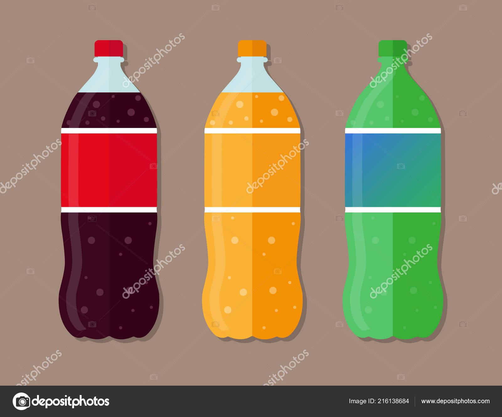 set plastic bottles coca