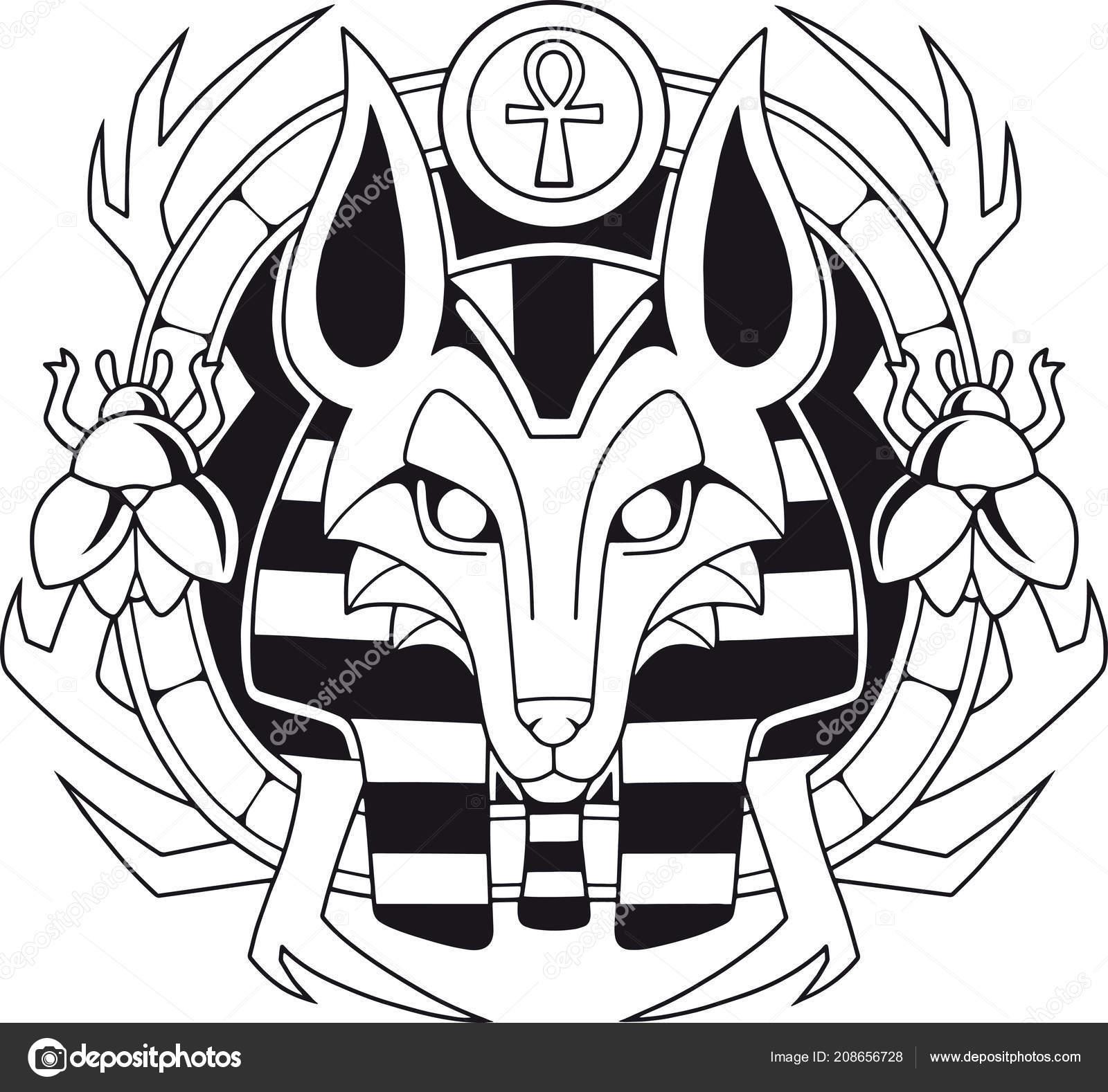 Ancient Egyptian God Jackal Anubis Design Illustration