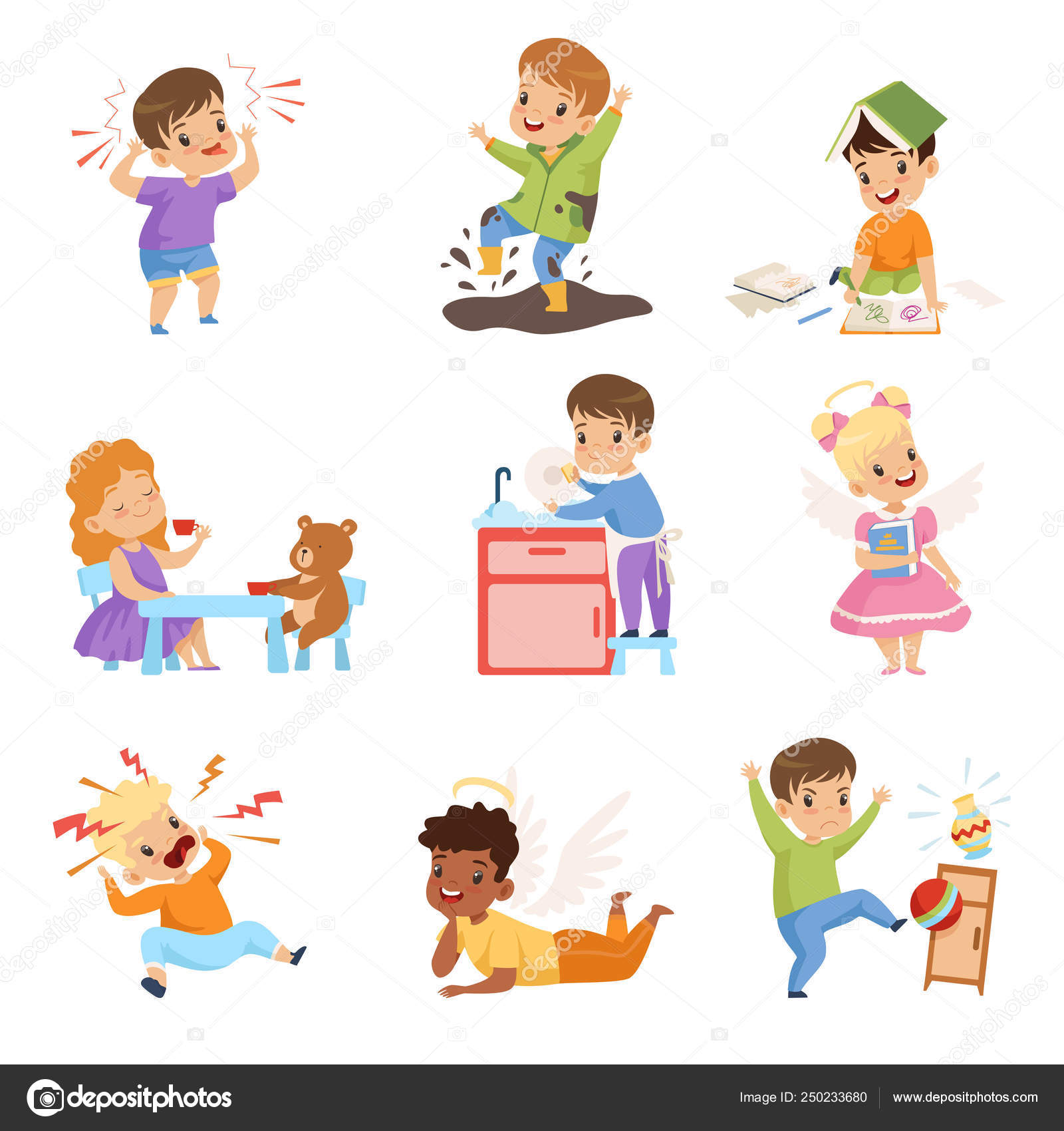 Naughty And Obe Nt Kids Set Children With Good Manners
