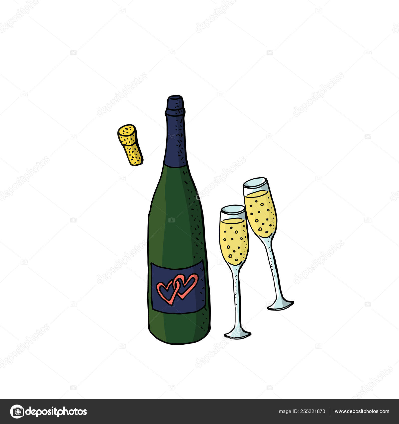 hight resolution of wedding clipart with green wine bottle and two glasses of sparkl vector de stock