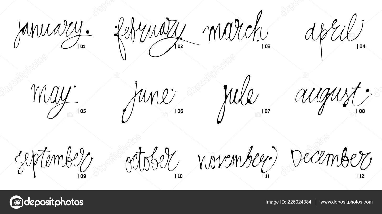 Handwritten names of months December, January, February