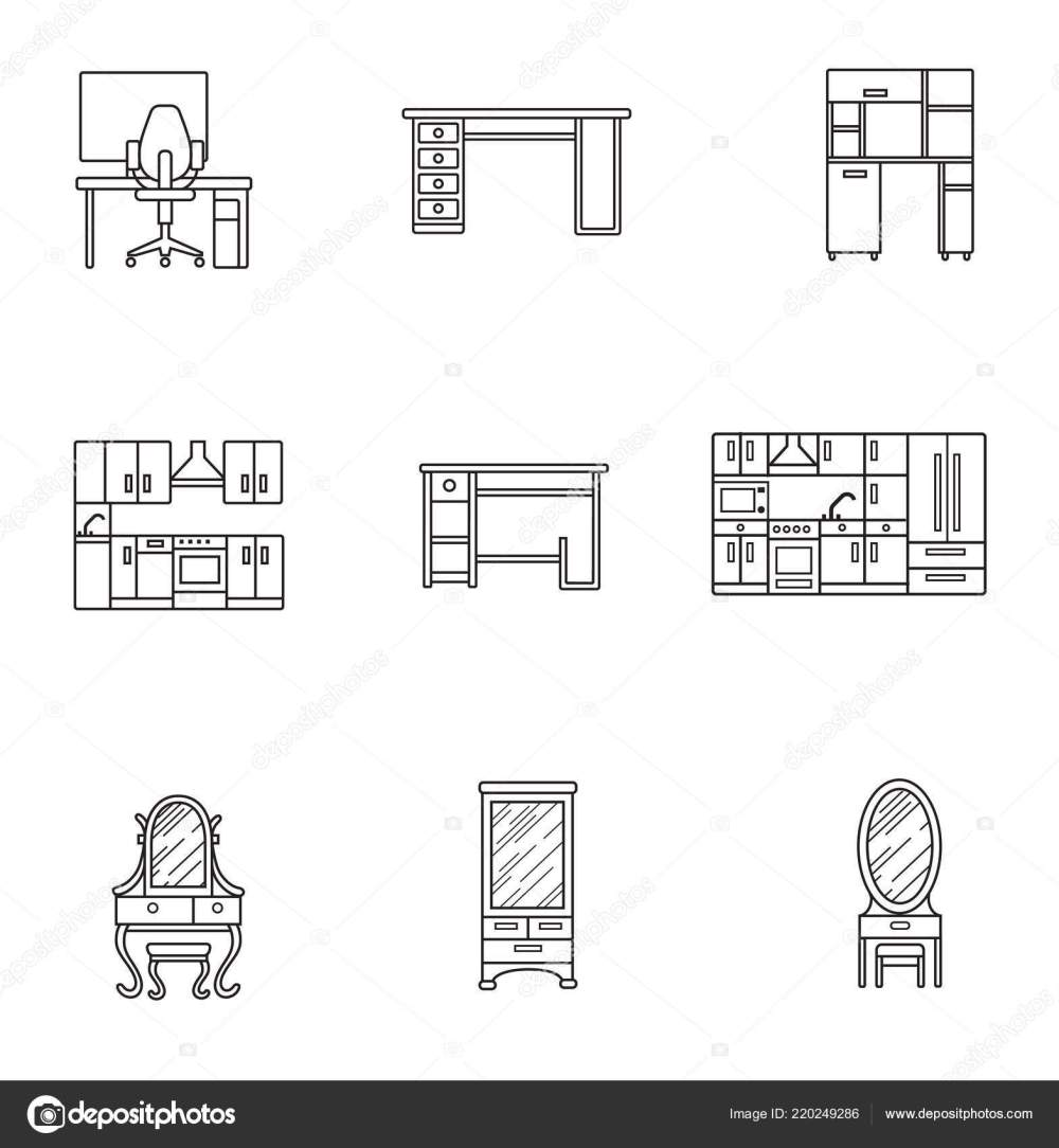 medium resolution of basic furniture thin line icon set in minimalist style black line sign on white background computer armchair table kitchen dressing table and other