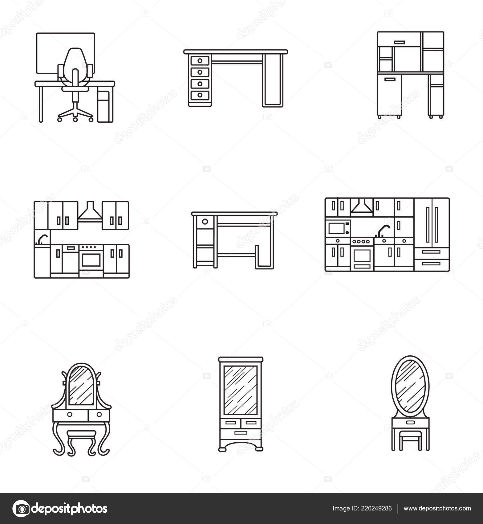 hight resolution of basic furniture thin line icon set in minimalist style black line sign on white background computer armchair table kitchen dressing table and other
