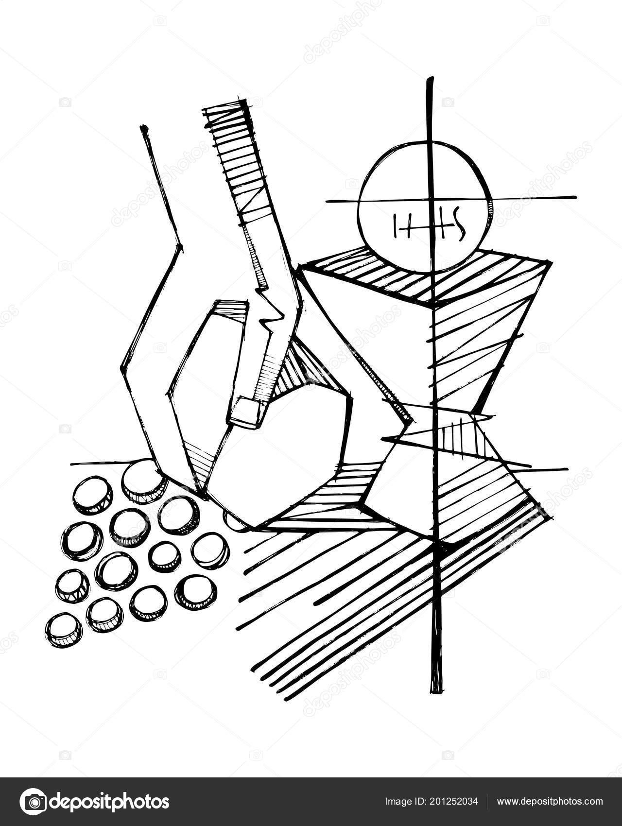 Hand Drawn Pencil Drawing Eucharist Religious Christian