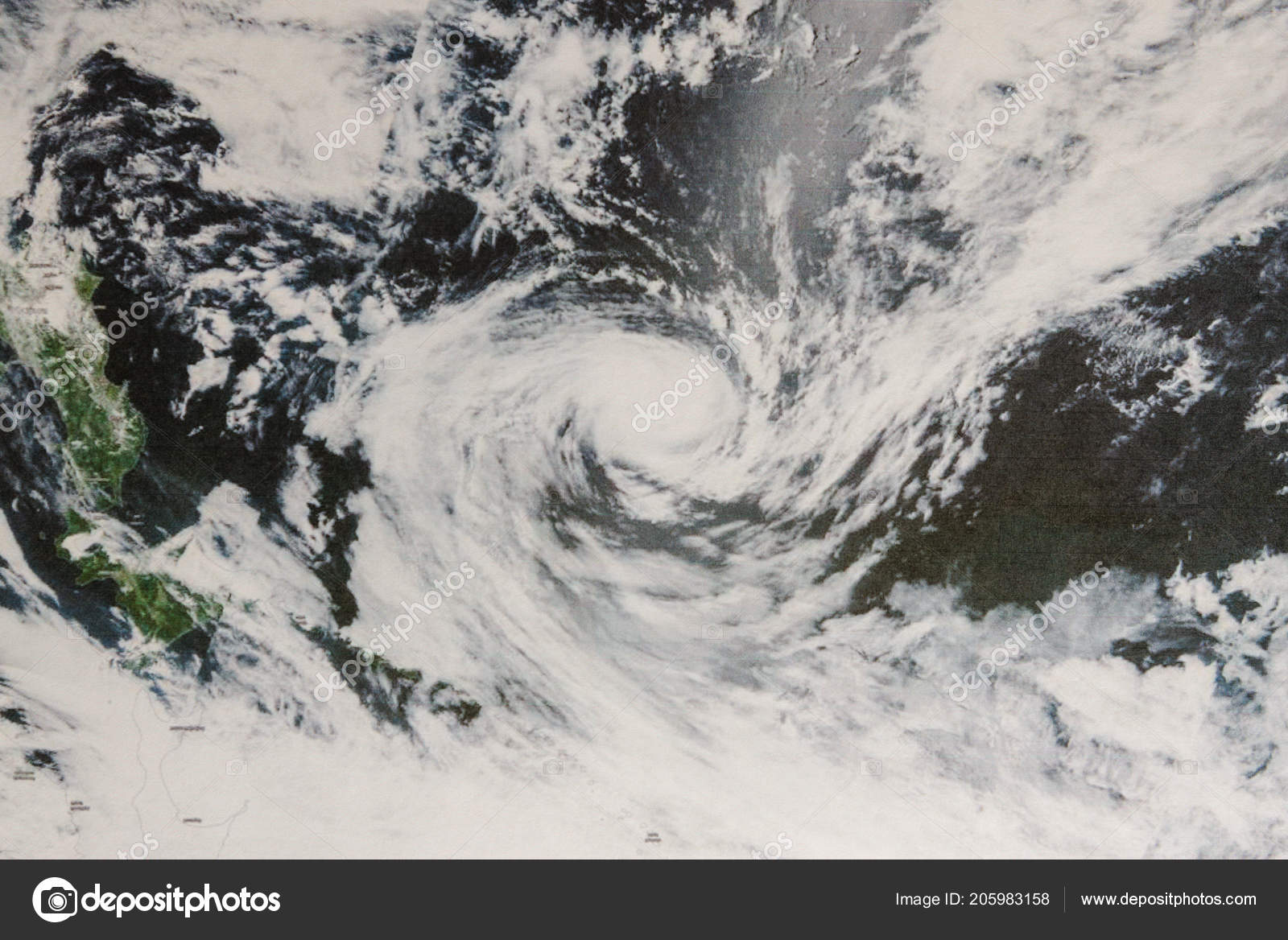 hight resolution of typhoon wukong tropical cyclone eye closed shut limited deep convection stock photo