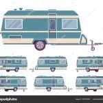 Camper Estilo Vintage Rv Turquesa Reboque De Viagem Para Viagem Aventuras Vetores De Stock C Andrew Rybalko 406350692