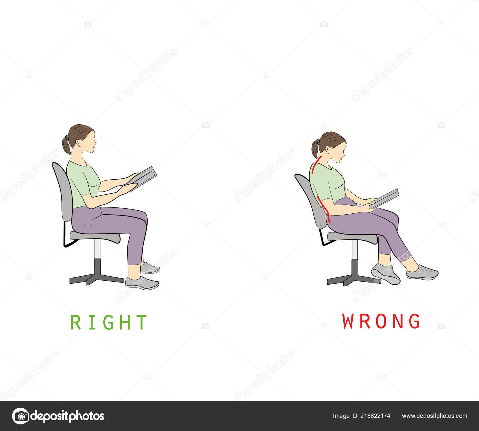 posture chair sitting armless and a half while reading book vector illustration stock