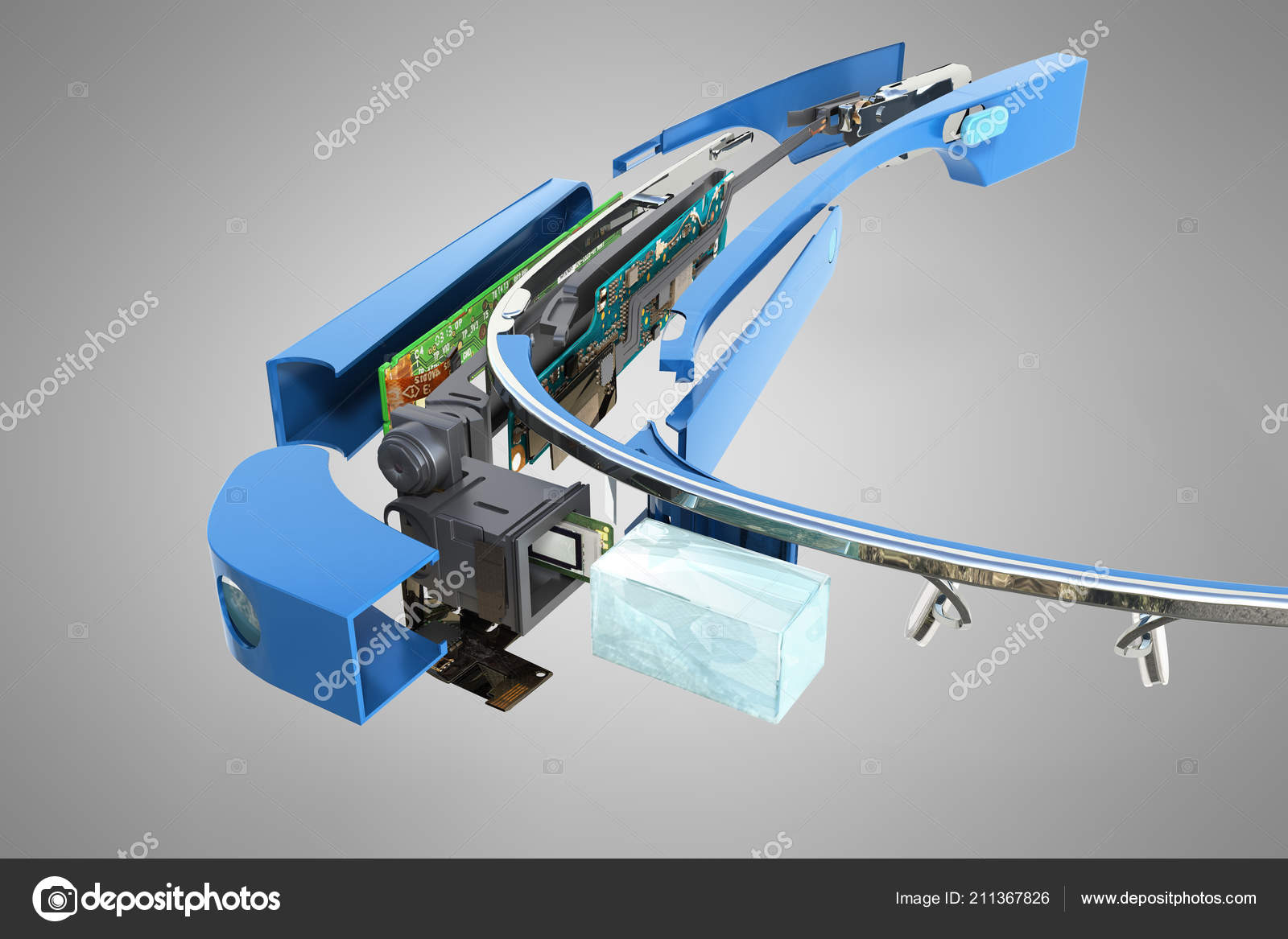 hight resolution of interactive glasses disassemble parts render grey background stock photo