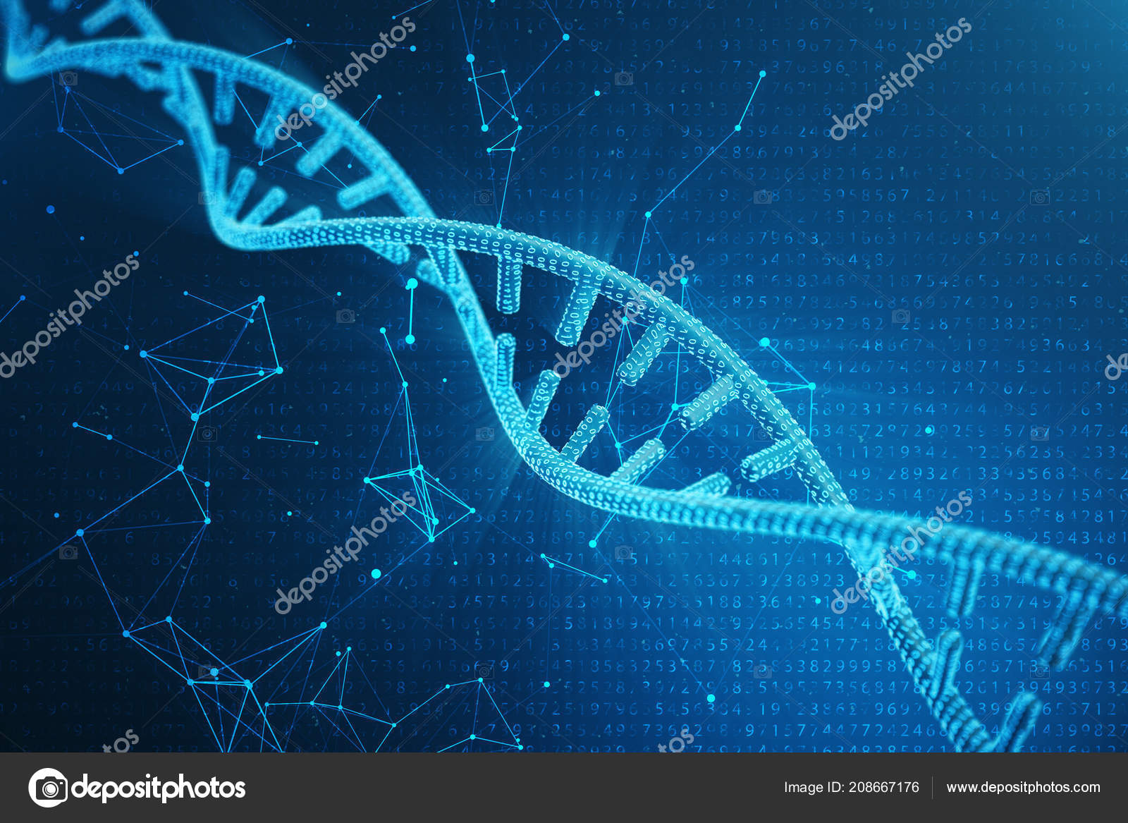 Digital Dna Molecule Structure Concept Binary Code Human