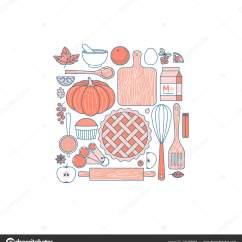 Kitchen Appliance Store Home Depot Unfinished Cabinets 厨房用具感恩节收藏 厨房用具套装 面包店的东西做馅饼 平线样式 向量 面包店的东西做馅