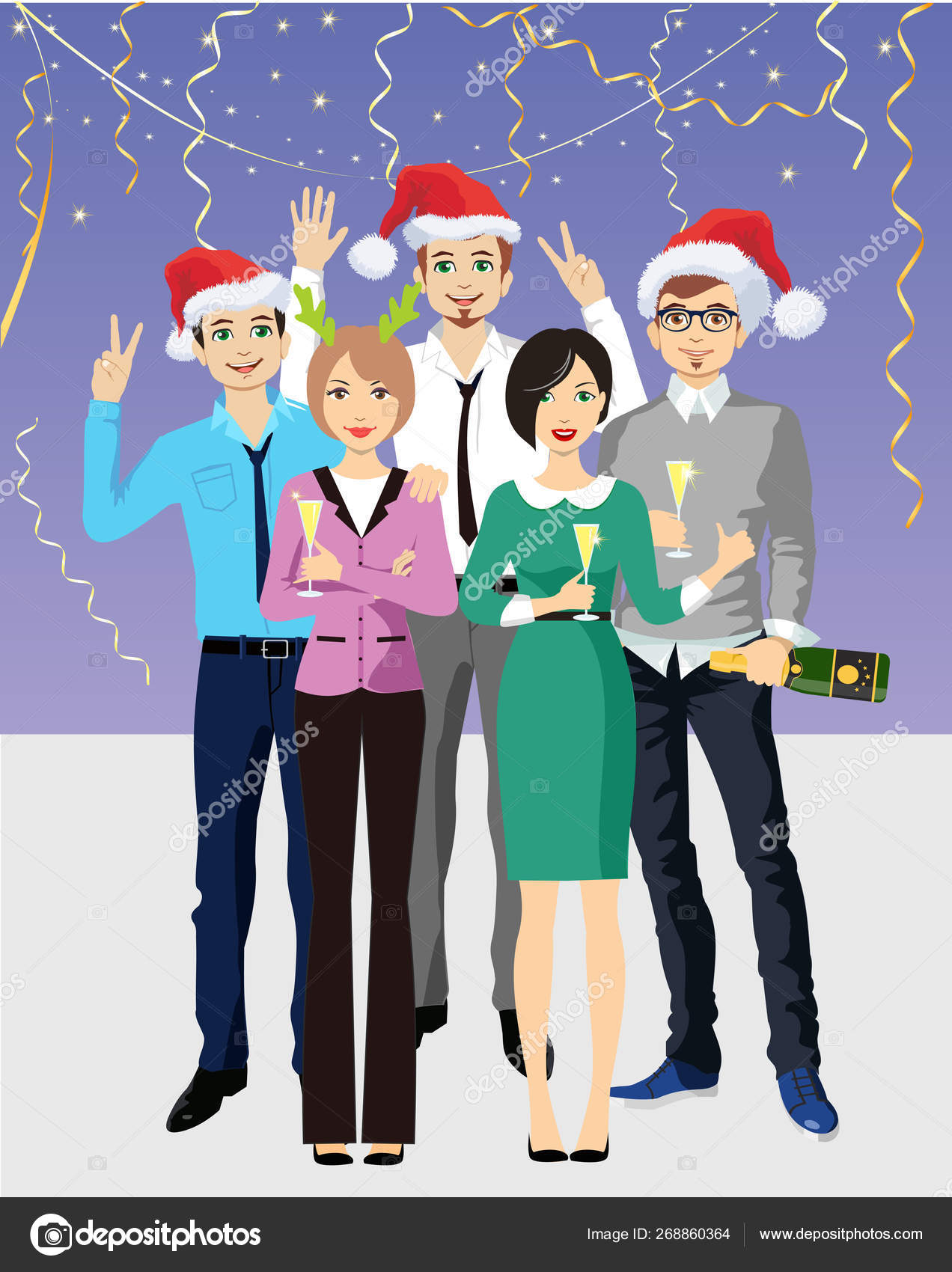 Office Christmas Party Cartoon Images : office, christmas, party, cartoon, images, Office, Party, Business, People, Christmas, Corporate, Vector, Image, Luisvv, Stock, 268860364
