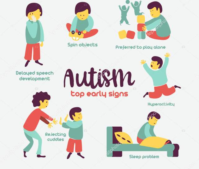 Autism Early Signs Of Autism Syndrome In Children Vector Illustration Children Autism Spectrum Disorder Asd Icons Signs And Symptoms Of Autism In A