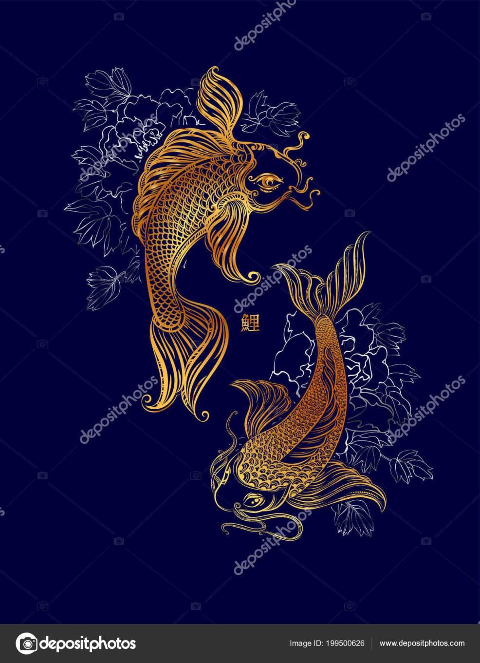 Koi карп хризантемы азиатских духовные символы золотая рыбка