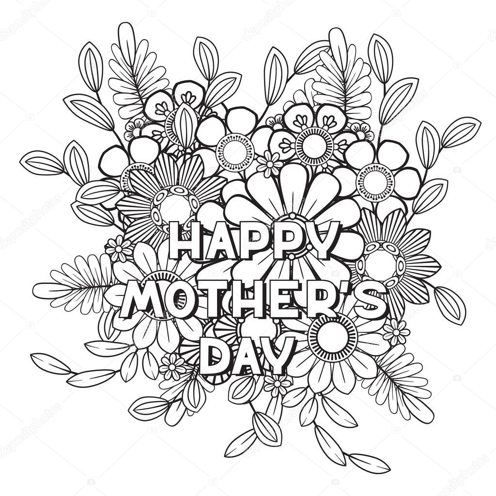 Happy Mothers Day Coloring Page For Adult Coloring Book Black And White Vector Illustration Isolated On White Background Premium Vector In Adobe Illustrator Ai Ai Format Encapsulated Postscript Eps Eps Format