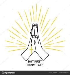 christian praying hands with prayer beads stock vector [ 1600 x 1700 Pixel ]