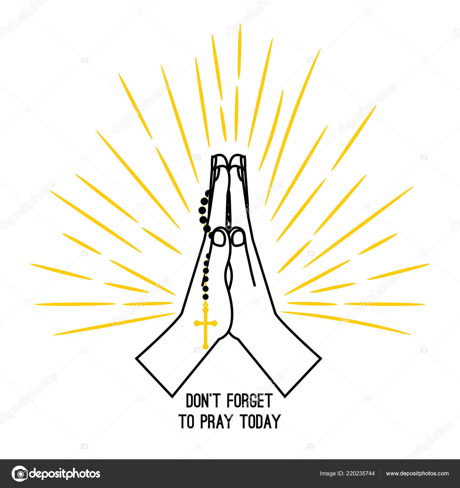 hight resolution of christian praying hands with prayer beads stock vector