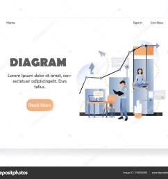 business diagram vector website landing page design template stock illustration [ 1600 x 1433 Pixel ]