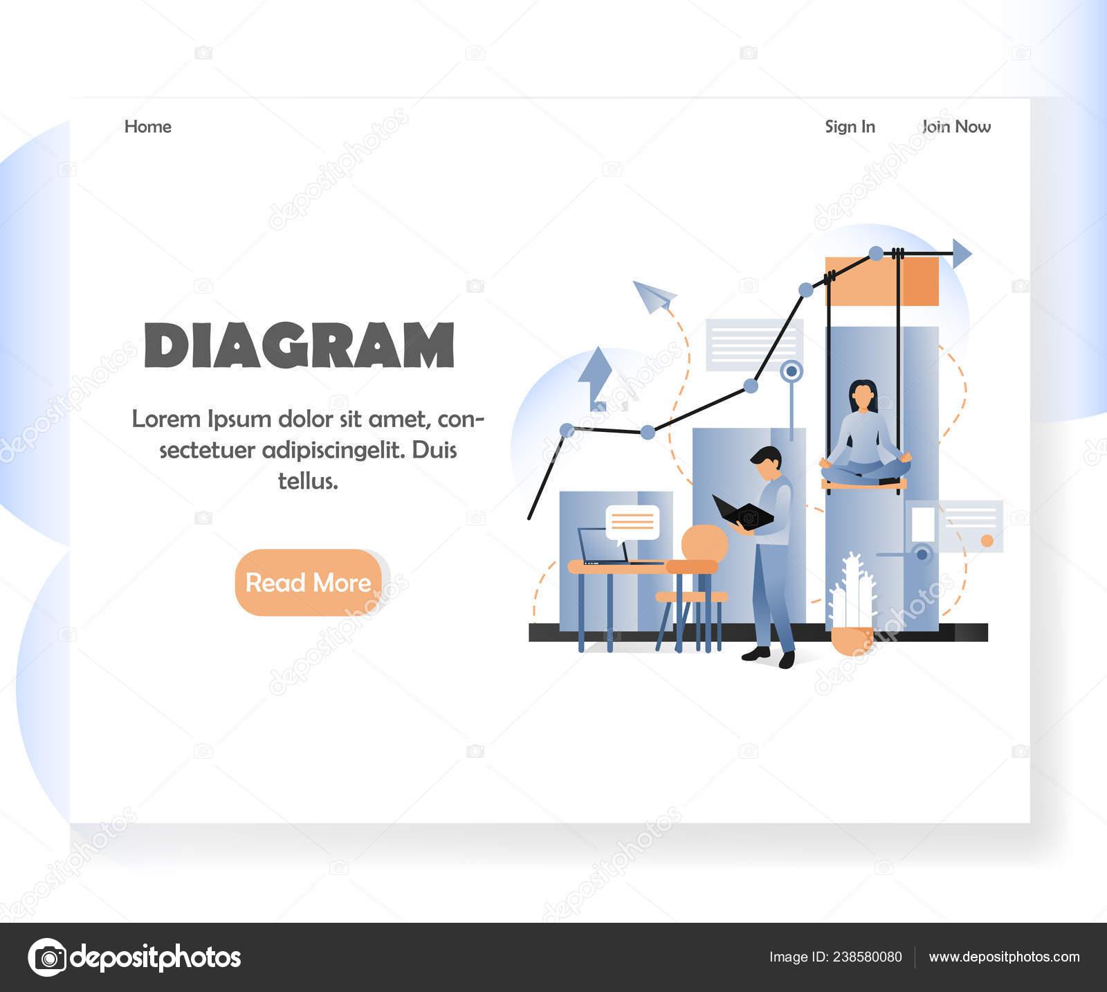 hight resolution of business diagram vector website landing page design template stock illustration