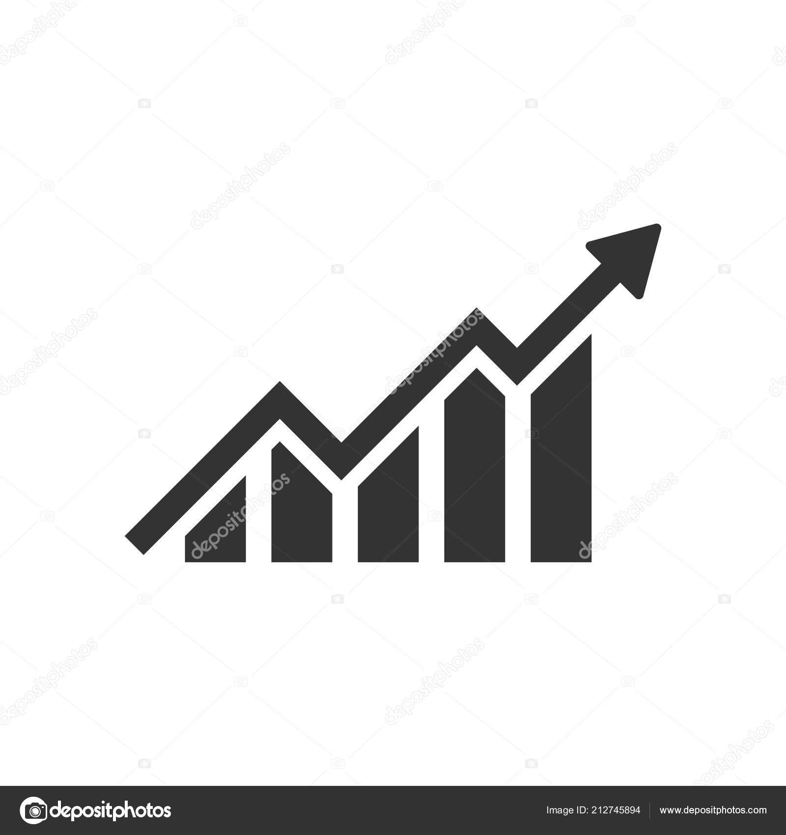 Growing Bar Graph Icon Flat Style Increase Arrow Vector