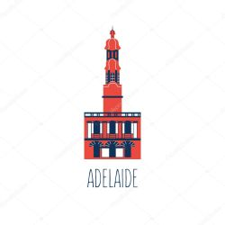 ✅ Australian cartoon travel vector illustration landmark Adelaide Town Hall isolated on white background decorative symbol flat style colorful icon building for travel design advertising web sign premium vector in Adobe Illustrator