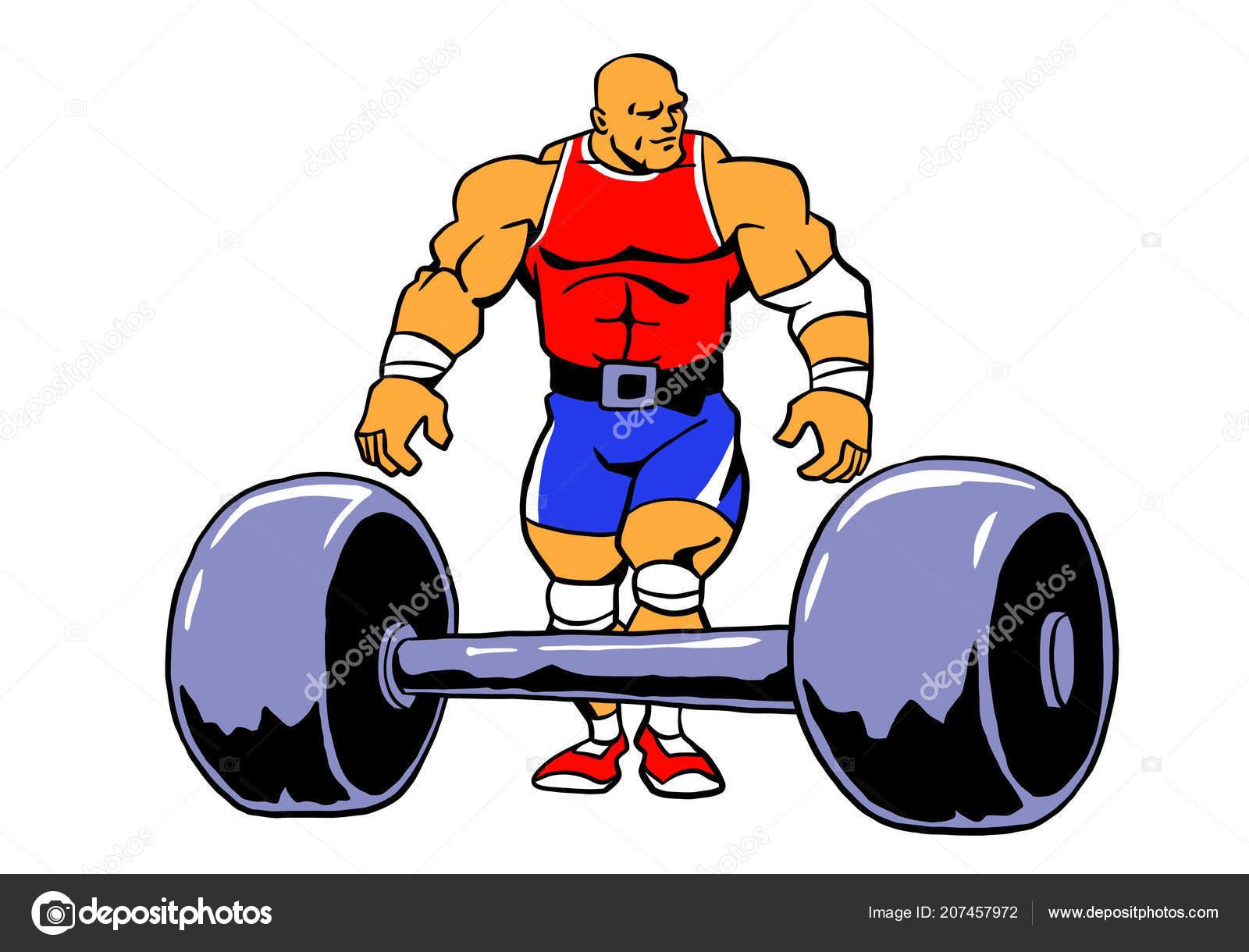 hight resolution of powerlifting muscule bodybuilder workout vector cartoon clipart design stock vector