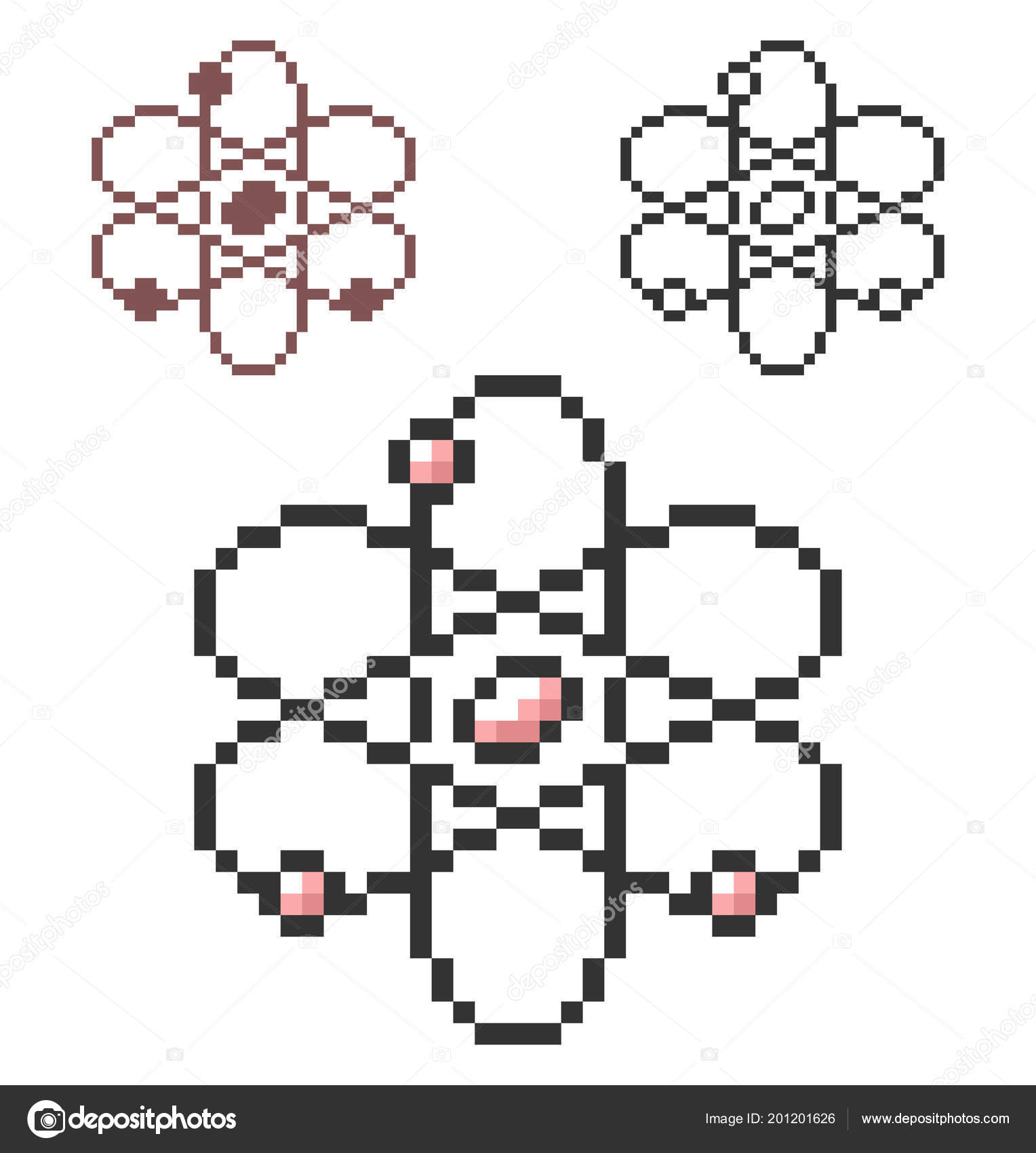 hight resolution of pixel icon atom model three variants fully editable stock vector