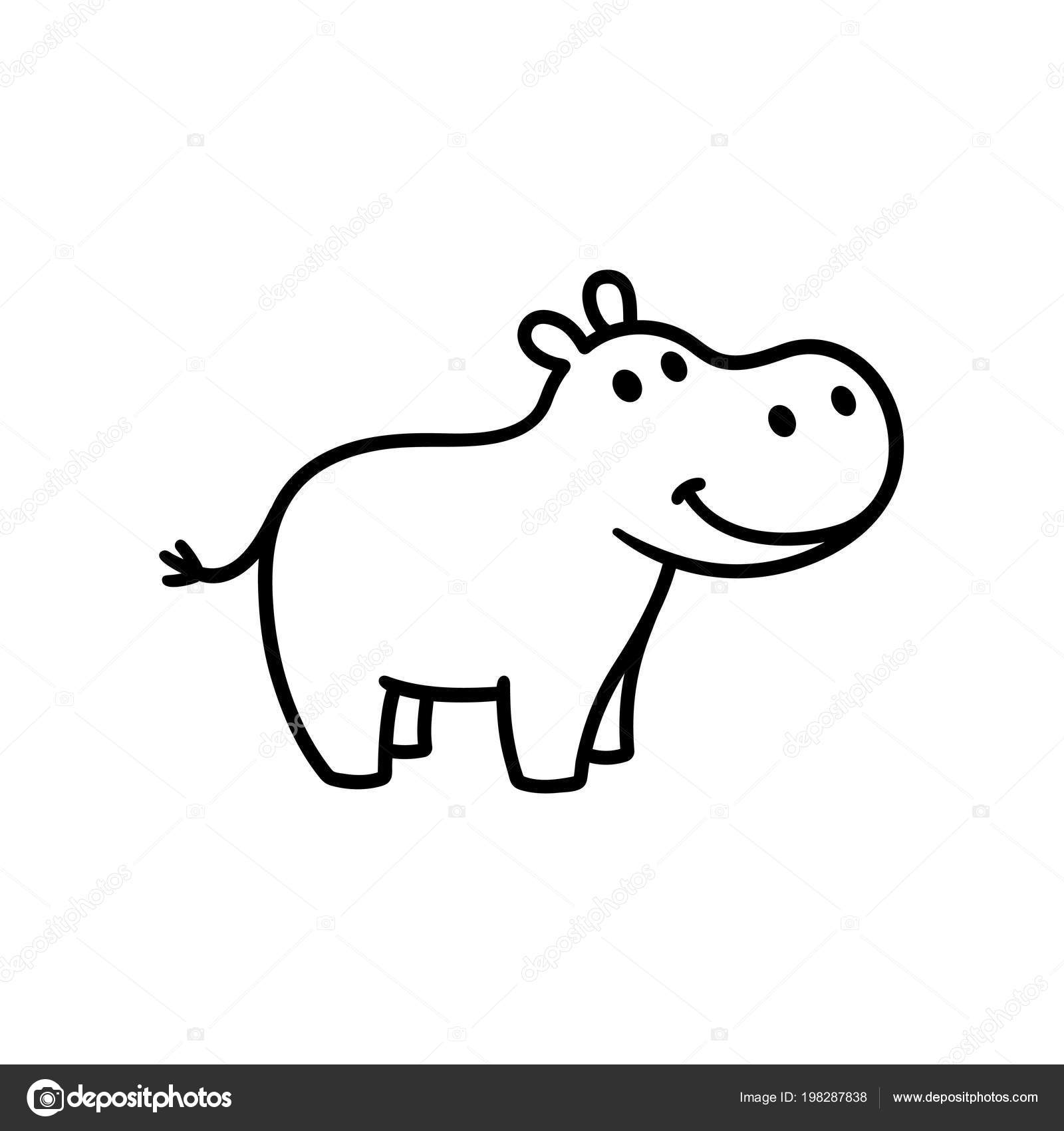Cute Easy Hippo Drawing Free Cute Baby Hippo Cartoon Download Free