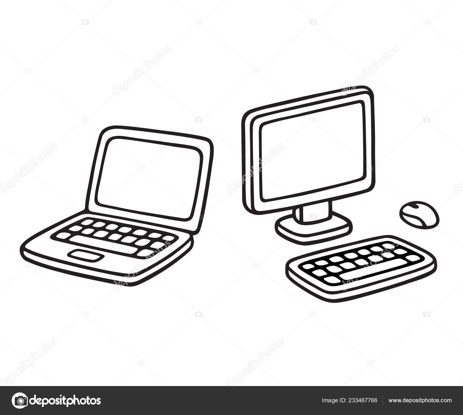 Line Drawing Of Desktop Computer