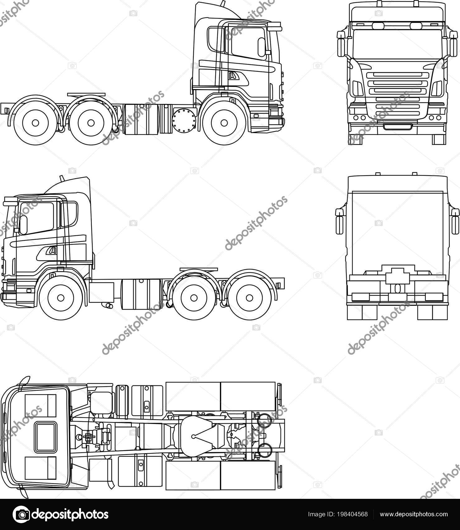 Scheme Transport Truck Tractor Scania — Stock Vector © kod