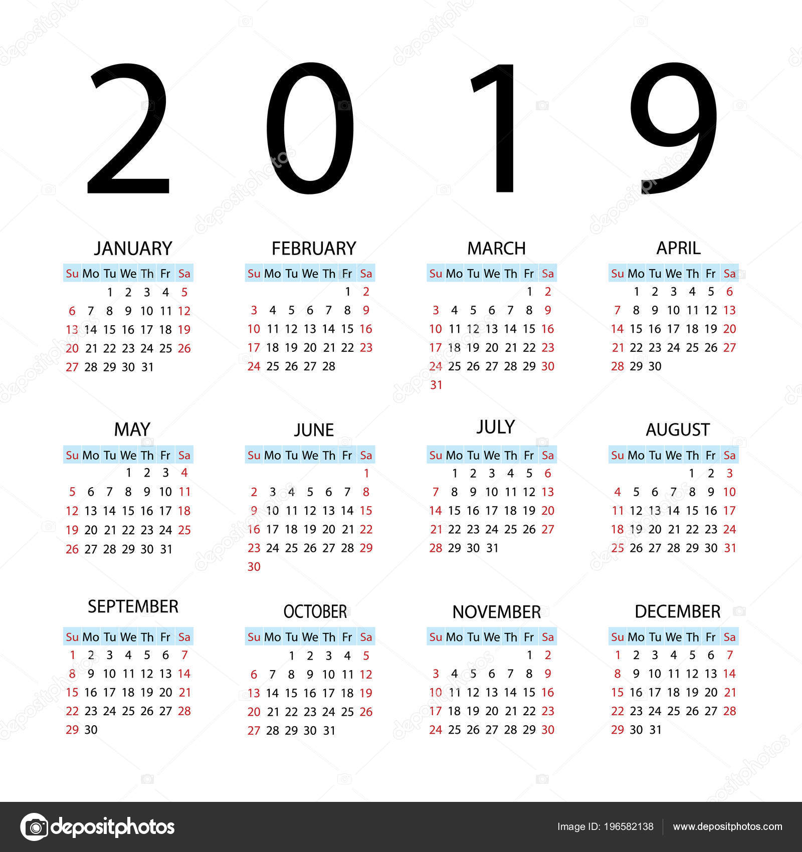 Jaar kalender 2019. Week begint met zondag — Stockvector © kozyrevaelena #196582138